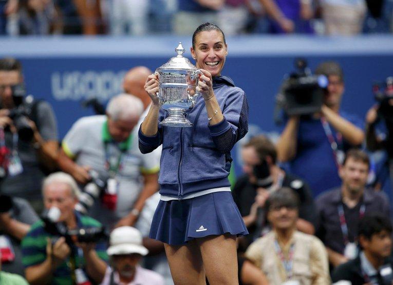Итальянка Флавия Пеннетта сразу после победы на Открытом чемпионате США по теннису